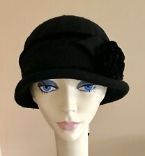816bfb633529c6 NWT Parkhurst Wool Cloche with Velvet Trim BLACK $35 PACKABLE