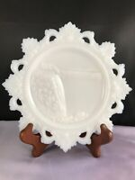 "VINTAGE WESTMORELAND MILK GLASS LACE EDGE SEASIDE BEACH 7 5"" PLATE"