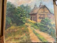 """Vintage Aron Birch """"Home And Landscape Scene"""" Oil Painting - Signed"""
