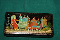 Hand Painted Lacquer Trinket Box Christianity King Prisoner Religious Men Signed
