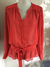Zara Red Sheer Blouse Top With Belt Size M