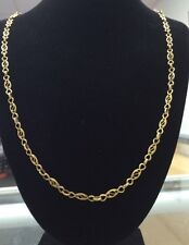 """Vintage 18K YELLOW GOLD 4mm Unique EYE Link 24"""" Chain 13.1 Grams Great Deal!"""