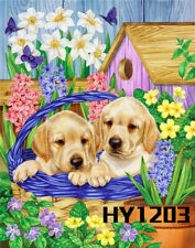 Cute Dogs Flowers Butterfly Welcome Garden Flag Outdoor Holiday Lawn Yard Banner
