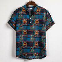 Mens Ethnic Short Sleeve Casual Cotton Linen Printing Hawaiian Shirt Blouse Top