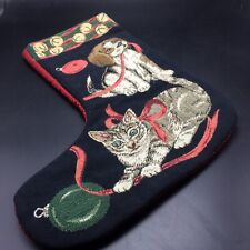 Tapestry Xmas Stocking Puppy Kitten Dog Cat Black Front Red Back Lined Handmade?
