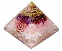 Large70mm 3 Layer Amethyst Rose Quartz OrgonePyramid FengShui Chakra US Seller