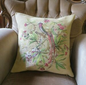 BIRD OF PARADISE FLORAL GARDEN CONSERVATORY GREENHOUSE TAPESTRY CUSHION COVER