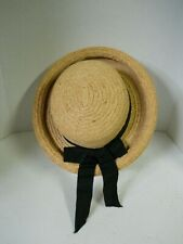 Women's Straw Hat Rolled Brim w/ Black Band & Bow Easter Church Derby Beach 1230