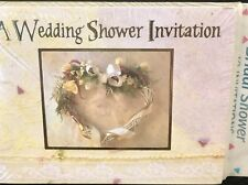Vtg Old Stock  Bridal Shower Invitations, Shabby, Cottage Country Wreath Satin