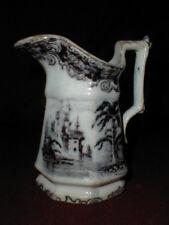 E Challinor English Staffordshire Pottery Mulberry Black CALCUTTA  Creamer 1850