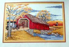 Cross Stitch Pattern Amish FALL COVERED BRIDGE Buggy Horse Trees Linda Bird