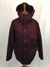 VTG Woolrich Parka Insulated Wool Lined Jacket Women's L Burgundy Made In USA