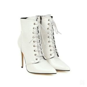 Winter Women's Pointed Toe High Heel Ankle Boots Lace Up Side Zip Booties 34-48