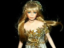 """Vintage 1998 CLEO by RUSTIE 16"""" Porcelain Doll GOLDEN GLAM Beaded GOWN"""