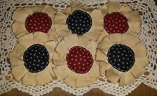 Handmade Primitive Americana Maroon and Blue Fabric Flowers Bowl Fillers Set/6