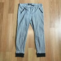 Portmans W34 Size 14 Black White Tapered Stretch Pants Trousers Womens Work