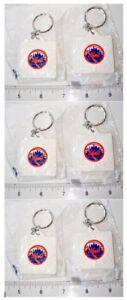 Set of 6 Schutt MLB New York NY Mets Logo Base Key Chains Keychains