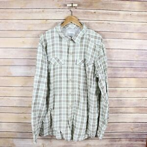 COLUMBIA Men's Long Sleeve Button Front Shirt XXL Extra Extra Large Beige Plaid