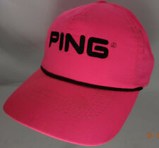 Ping Neon Pink Strapback Rope Hat By Karsten Made USA Golf Cap dark spots
