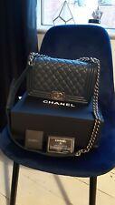 Chanel Boy medium handbag quilted Navy Blue with original box