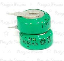 2 Piezas Ni-mh 80mah 1.2 v botón batería recargable de alimentación de respaldo con Etiqueta