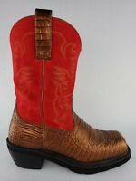 Ariat Boots Womens Size 8 B Bronze Gator Print Leather Red Suede Square Toe