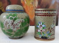 Chinese Cloisonne ginger jar and Tea caddy box - metal and enamel - vintage