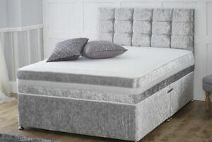 CRUSHED VELVET DIVAN BED BASE ONLY + 20 INCH CUBE DELUXE HEADBOARD