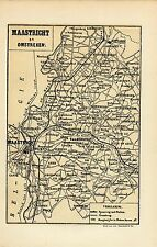 Antique map Maastricht area Limburg Sint-Pietersberg Mount Saint Peter 1883