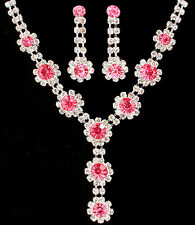 NECKLACE AND EARRING SET/ RHINESTONE/ CIRCULAR/ PRONG