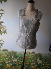 BANANA REPUBLIC Gray Ruffled Shoulder Blouse / Tank Top Size XS New