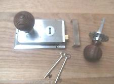 Chrome-classic old english rim serrure de porte bouton de poignée-ruche en teck + chrome
