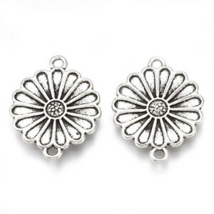 6 Daisy Flower Connector Charms Link Pendants Antiqued Silver Floral Jewelry