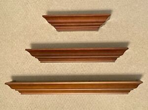 3 Floating Wall Shelves, Cherry Traditional Ledge Hidden Mount, 12 18 24 Inches