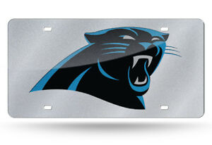 Carolina Panthers Silver Glitter look 12x6 Laser License Plate Tag