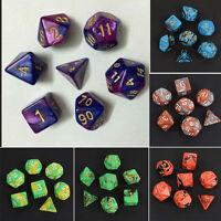 7Pcs TRPG Würfel-Set Dungeons & Dragons Würfelset Würfelspiel Multi-sided Neu
