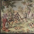 """Vintage Tapestry, Chateau Garden Party, Hunt Scene, Made In Belgium, 58"""" x 20"""""""