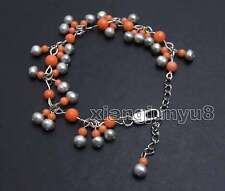Small 5-6mm Gray Round Natural Pearl with 3-6mm Pink Coral 7-9'' bracelet-bra383