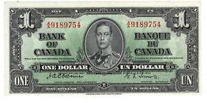 Canada UNC $1 Dollar 1937 BC-21a P-58a A/A Prefix Osborne-Towers KGVI Banknote