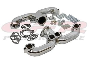 Exhaust Chrome Steel Manifold  Set Chevy Ram RAMS Horns Header CHEVY