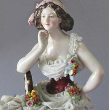 Antique 18thC ROYAL NAPLES Porcelain Figurine LADY Layers of LACE Flowers c1780