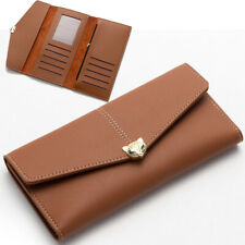 Women New Leather Long Clutch Trifold Wallet Business ID Card Holder Trendy Gift