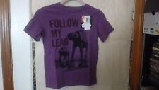 "[New] Disney Star Wars ""Follow My Lead"" Purple AT-AT Graphic Tee, Boys Size 6"