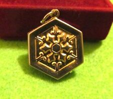 Gold Puffy Charm Fob - Vintage Victorian Double Sided Etruscan