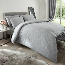 Metro Geometric Diamond Grey Double Duvet Cover Set Bedding Polycotton
