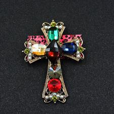 Cross Charm Woman Brooch Pin Betsey Johnson Colorful Enamel Rhinestone Crystal