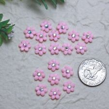 100 Mini Pink Padded Fabric Felt Flower Scrapbook Crafts Embellishments Card Kid