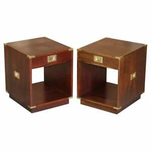 PAIR OF HARRODS KENNEDY DOUBLE SIDED MAHOGANY CAMPAIGN SIDE TABLE DRAWERS