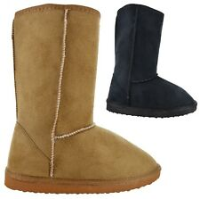 LADIES WINTER WARM FAUX FUR CASUAL WORK BOOTS WOMENS FLAT SNUGG HUG SHOES SIZE