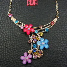 New Colorful Bling Rhinestone Flower Pendant Betsey Johnson Chain Necklace